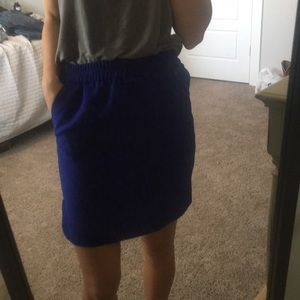 J Crew elastic waist royal blue skirt with pockets
